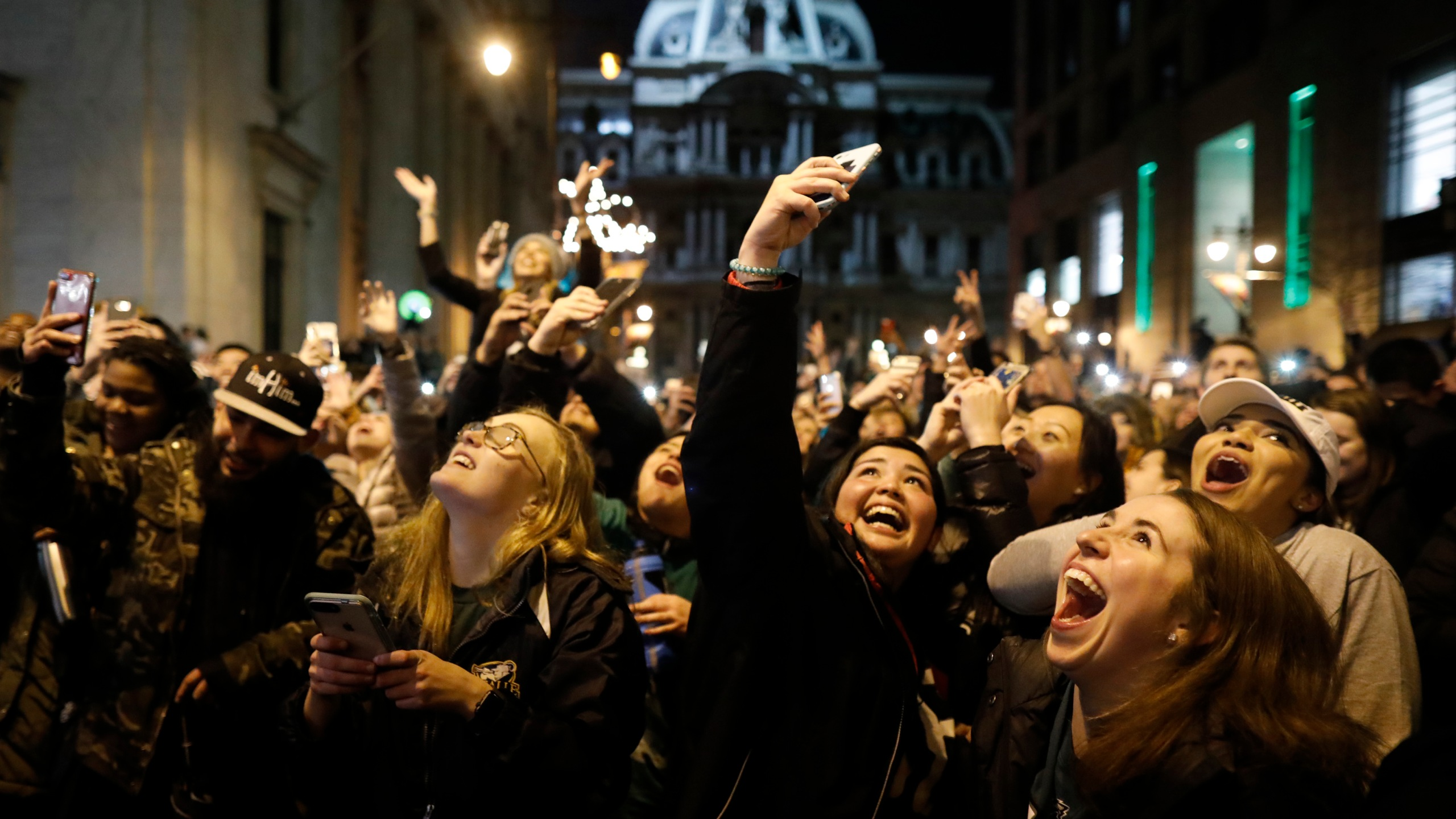 Fans celebrate in Center City after the Philadelphia Eagles defeated the New England Patriots to win the Super Bowl on Feb. 4, 2018, in Philadelphia, Penn. (Credit: Aaron P. Bernstein/Getty Images)