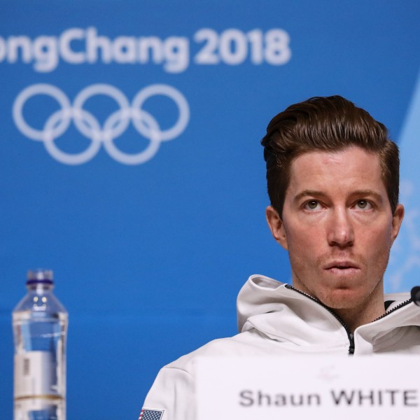 USA's snowboard athlete Shaun White attends a press conference at the Media Press Center ahead of the Pyeongchang 2018 Winter Olympic Games on February 8, 2018 in Pyeongchang. (Credit: FLORIAN CHOBLET/AFP/Getty Images)