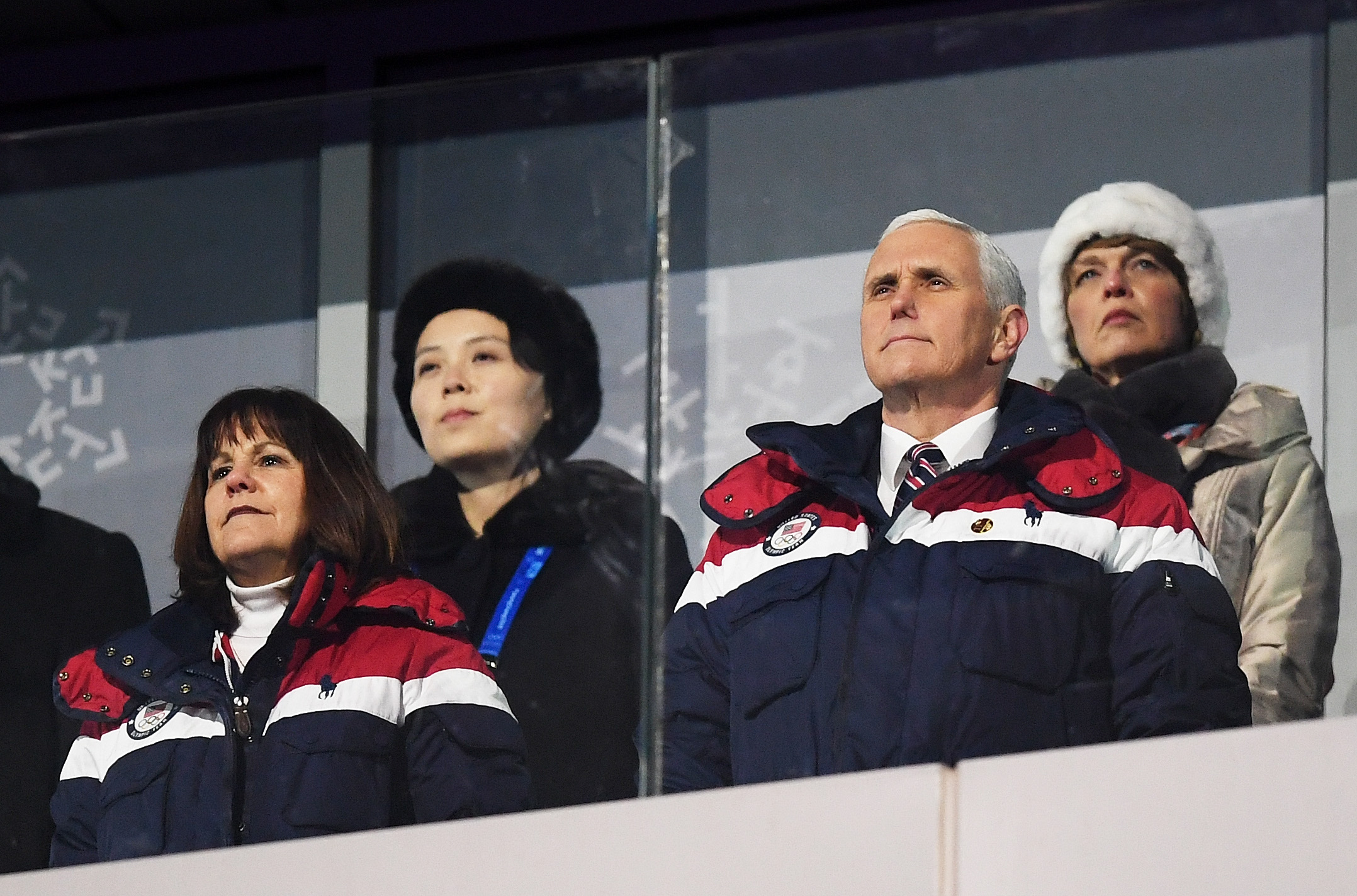 Vice President Mike Pence and North Korean Leader Kim Jong Un's sister Kim Yo-Jong, back left, watch during the Opening Ceremony of the Pyeongchang 2018 Winter Olympic Games on Feb. 9, 2018 in Pyeongchang-gun, South Korea. (Credit: Matthias Hangst/Getty Images)