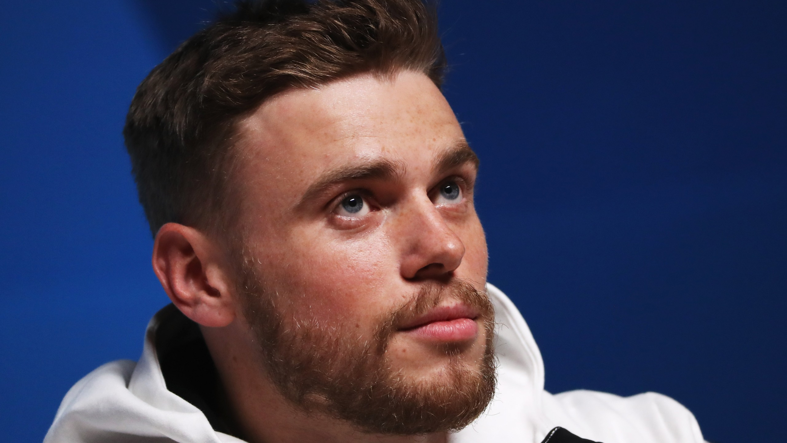 United States freestyle skier Gus Kenworthy answers questions at a press conference during the PyeongChang 2018 Winter Olympics on Feb. 11, 2018. (Credit: Ker Robertson / Getty Images)