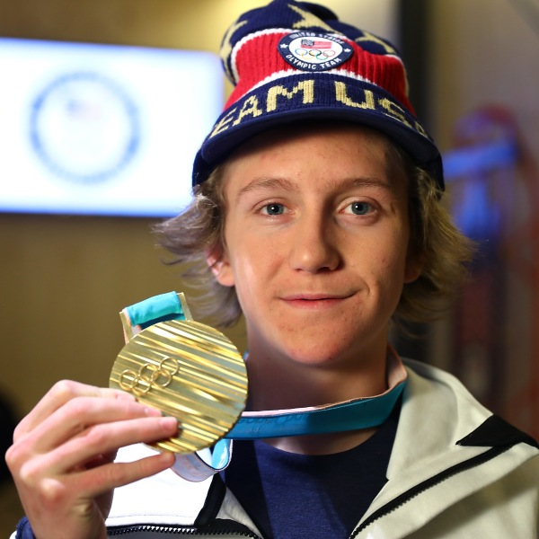 Red Gerard poses with his Gold Medal at the USA House at the Pyeongchang 2018 Winter Olympic Games on Feb. 11, 2018 in Pyeongchang-gun, South Korea. (Credit: Joe Scarnici/Getty Images for USOC)