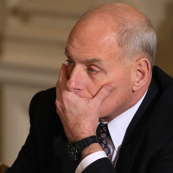 White House Chief of Staff John Kelly during a meeting where President Donald Trump unveiled his administration's long-awaited infrastructure plan in the State Dining Room at the White House on Feb. 12, 2018. (Credit: Chip Somodevilla / Getty Images)
