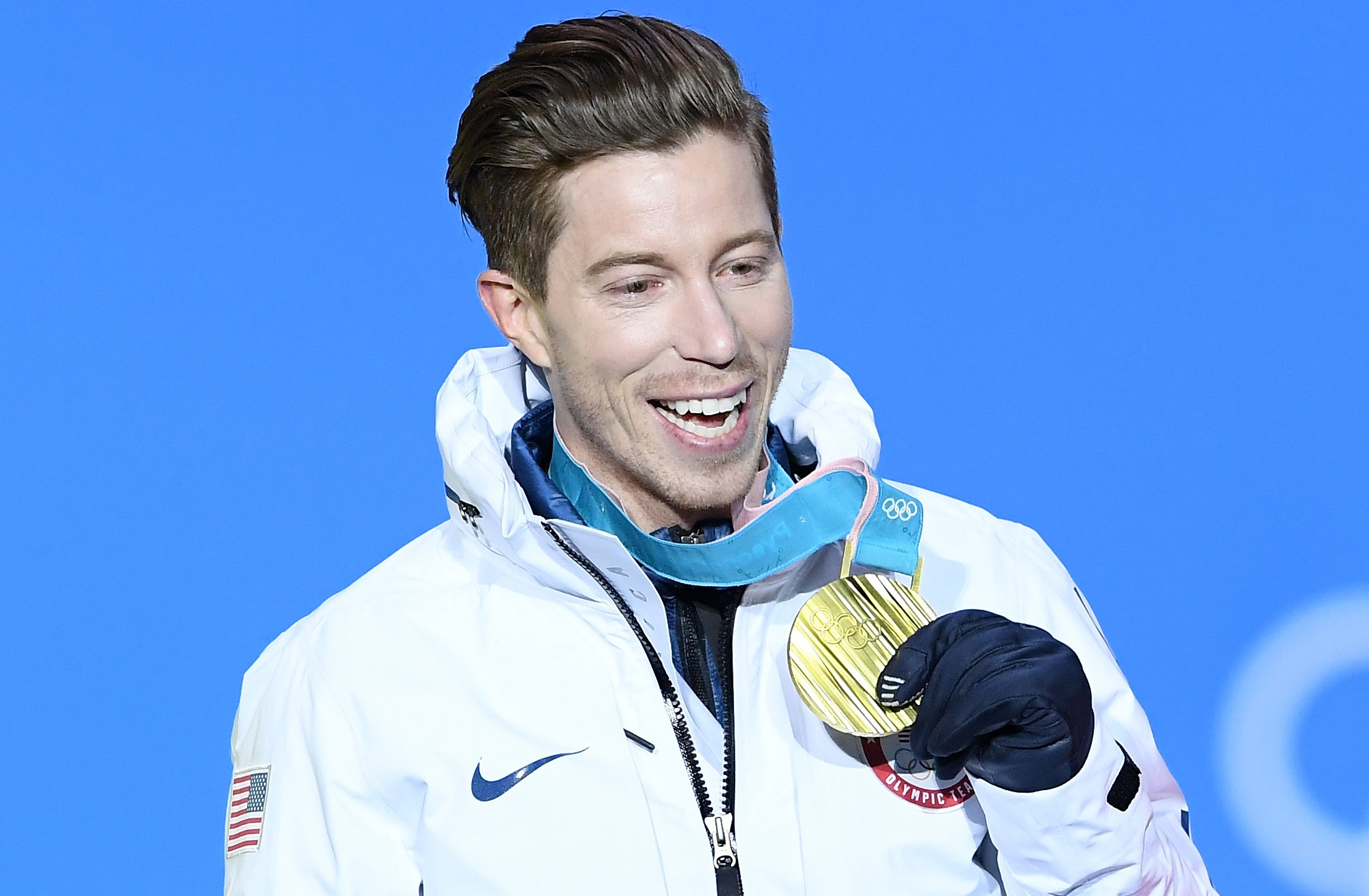 Gold medalist Shaun White of the United States poses during the medal ceremony for the Snowboard Men's Halfpipe Final on February 14, 2018 in Pyeongchang-gun, South Korea. (Credit: Quinn Rooney/Getty Images)
