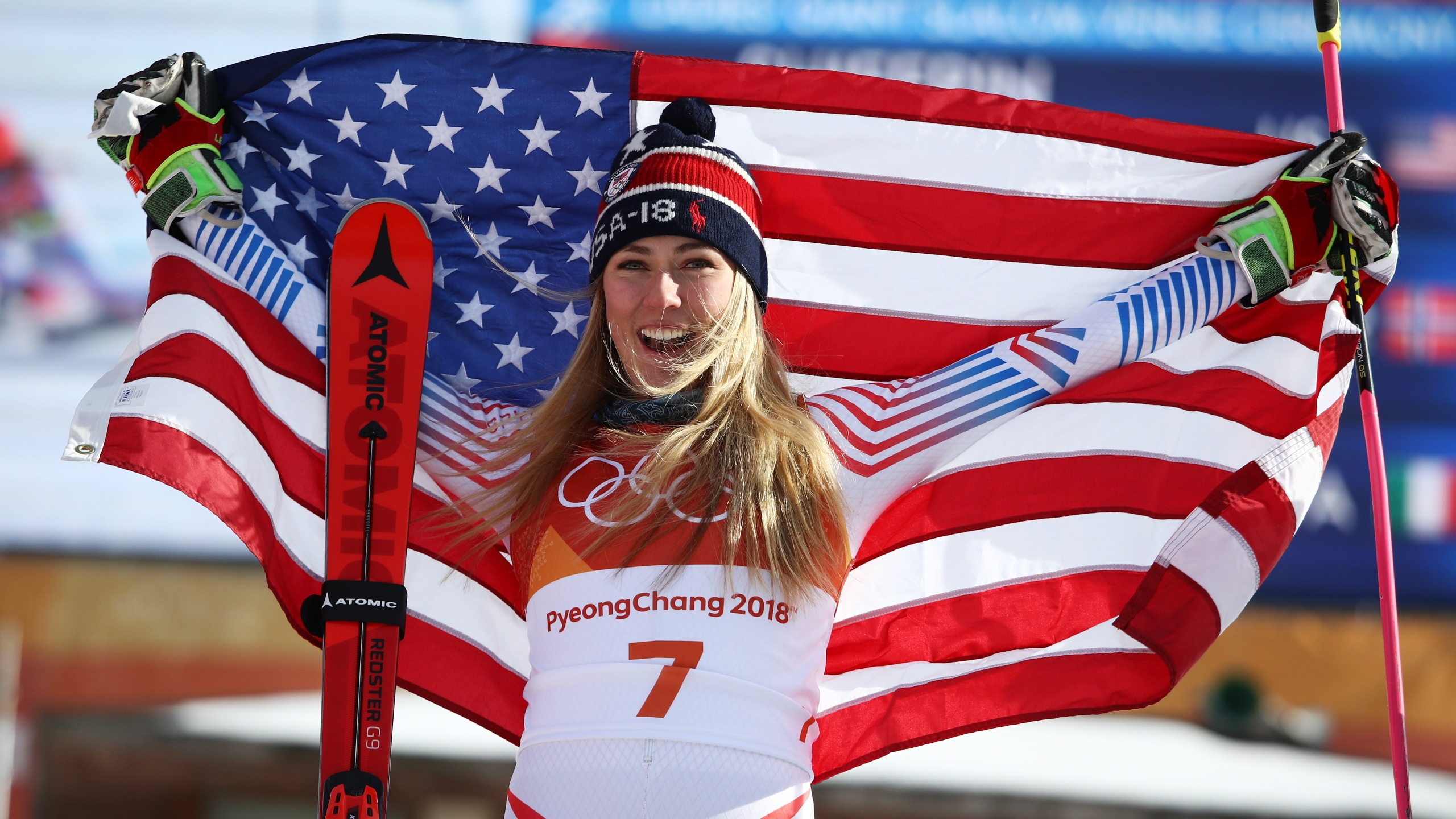 Mikaela Shiffrin of the United States poses on the podium at the Pyeongchang 2018 Winter Olympic Games at Yongpyong Alpine Centre on Feb. 15, 2018, in Pyeongchang-gun, South Korea. (Ezra Shaw/Getty Images)