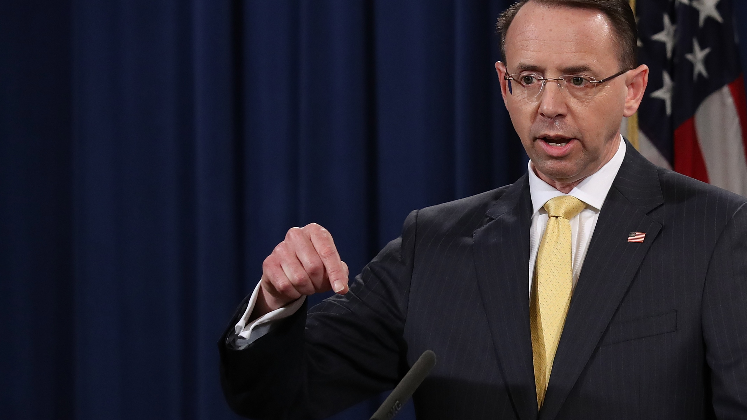 Deputy Attorney General Rod Rosenstein announces the indictment of 13 Russian nationals and three Russian organizations for meddling in the 2016 presidential election on Feb. 16, 2018, at the Justice Department. (Credit: Win McNamee / Getty Images)