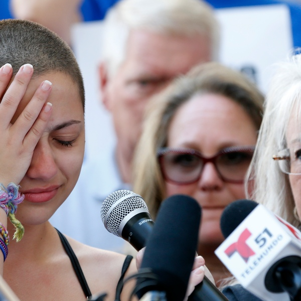 Marjory Stoneman Douglas High School student Emma Gonzalez reacts during her speech at a rally for gun control at the Broward County Federal Courthouse in Fort Lauderdale, on Feb. 17, 2018. (Credit: Rhona Wise /AFP/Getty Images)