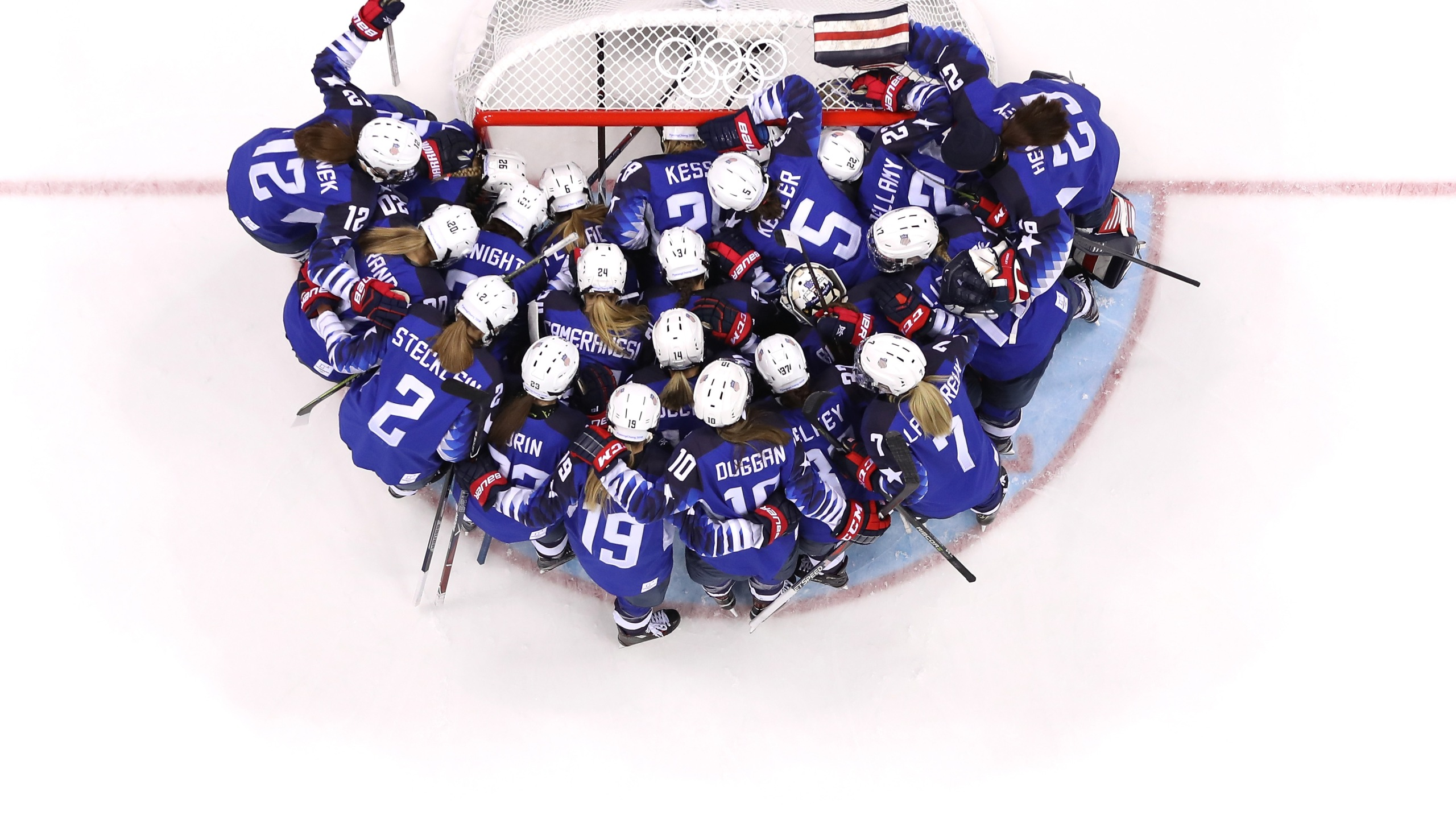 Team United States huddles on the ice prior to the women's gold medal game against Canada at the PyeongChang 2018 Winter Olympics on Feb. 22, 2018. (Credit: Jamie Squire / Getty Images)