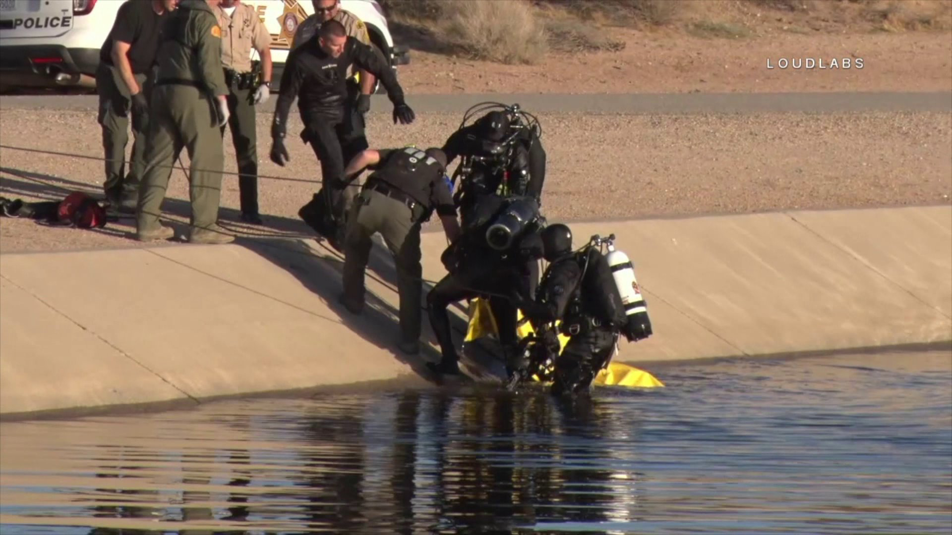 Divers pulled the man's body from the aqueduct on Feb. 4, 2018. (Credit: Loudlabs)
