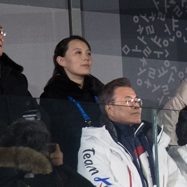 Kim Yo-jong, the sister of North Korean leader Kim Jong-Un stands alongside Kim Yong Nam, North Korea's ceremonial head of state, in the row just above South Korea President Moon Jae-in and his wife, Kim Jung-sook. The Korean leaders watch the opening ceremony of the PyeongChang Winter Olympics on Feb. 9, 2018, in PyeongChang, South Korea. (Credit: Carl Court/Getty Images)