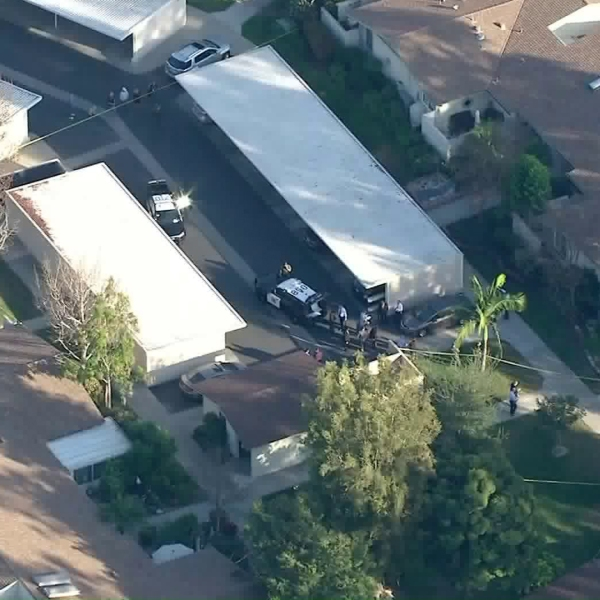 Authorities respond to a deputy-involved shooting in Laguna Woods on Feb. 6, 2018. (Credit: KTLA)