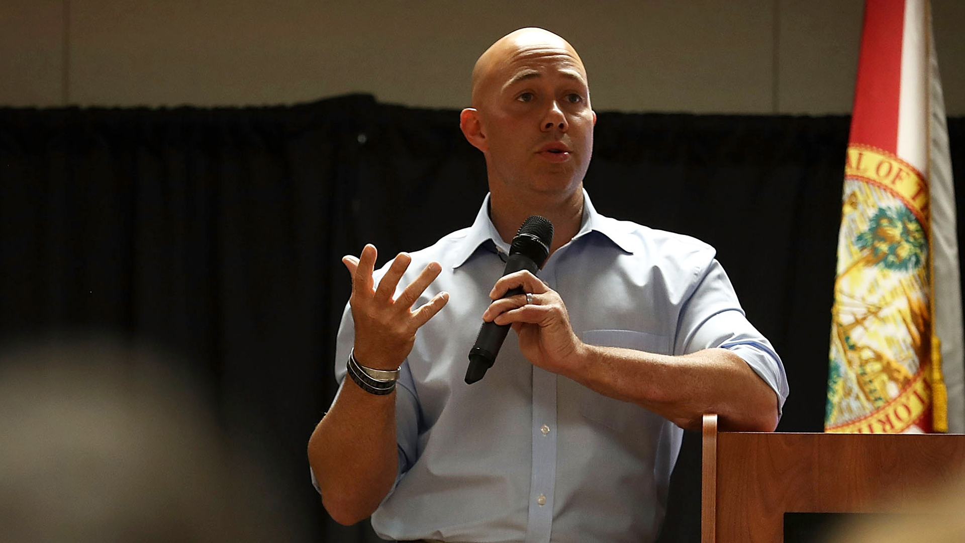 Rep. Brian Mast (R-FL) speaks during a town hall meeting at the Havert L. Fenn Center on Feb. 24, 2017, in Fort Pierce, Fla. Rep. Mast held the veteran's town hall meeting that ranged from topics on veterans, school choice, health care as well as issues surrounding President Donald Trump and his administration. (Credit: Joe Raedle/Getty Images)