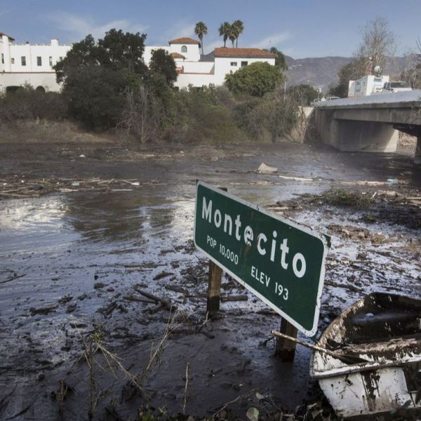 A Montecito city sign along the 101 Freeway is shown in this undated photo. (Credit: Katie Falkenberg / Los Angeles Times)