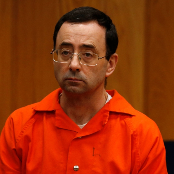 Former Michigan State University and USA Gymnastics doctor Larry Nassar listens during the sentencing phase in Eaton, County Circuit Court on January 31, 2018 in Charlotte, Michigan. (Credit: JEFF KOWALSKY/AFP/Getty Images)