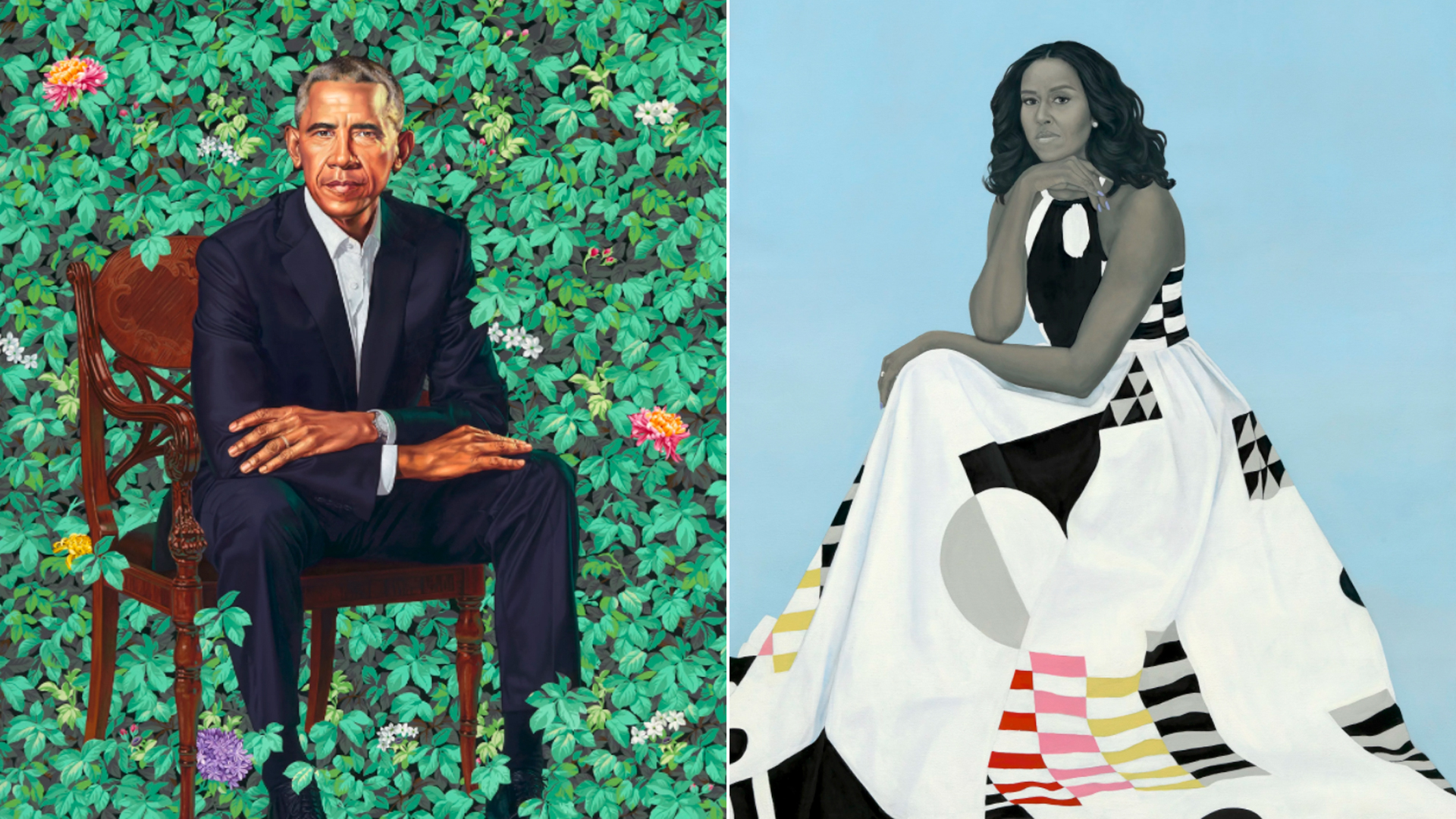 """Left, """"Barack Obama"""" by Kehinde Wiley, and """"Michelle LaVaughn Robinson Obama"""" by Amy Sherald, were unveiled at the National Portrait Gallery on Feb. 12, 2018."""