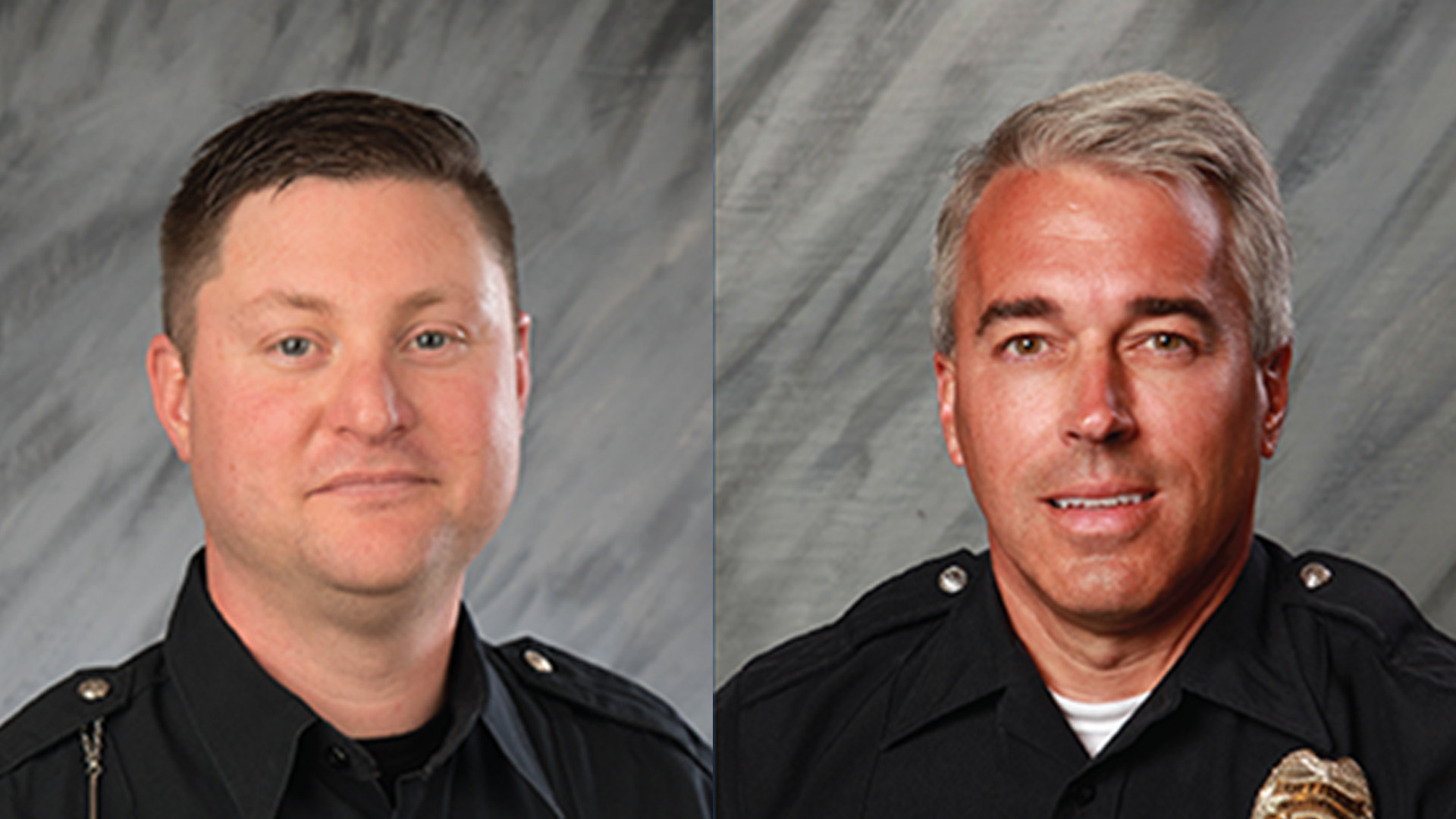 Officers Eric Joering and Anthony Morelli are seen in these photos posted on Twitter by the city of Westerville, Ohio on Feb. 11, 2018.