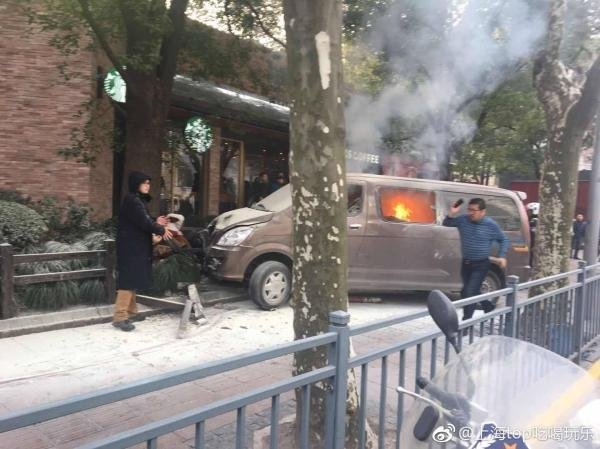 A van plows into crowd in Shanghai on Feb. 2, 2018. (Credit: People's Republic of China Municipality via CNN)