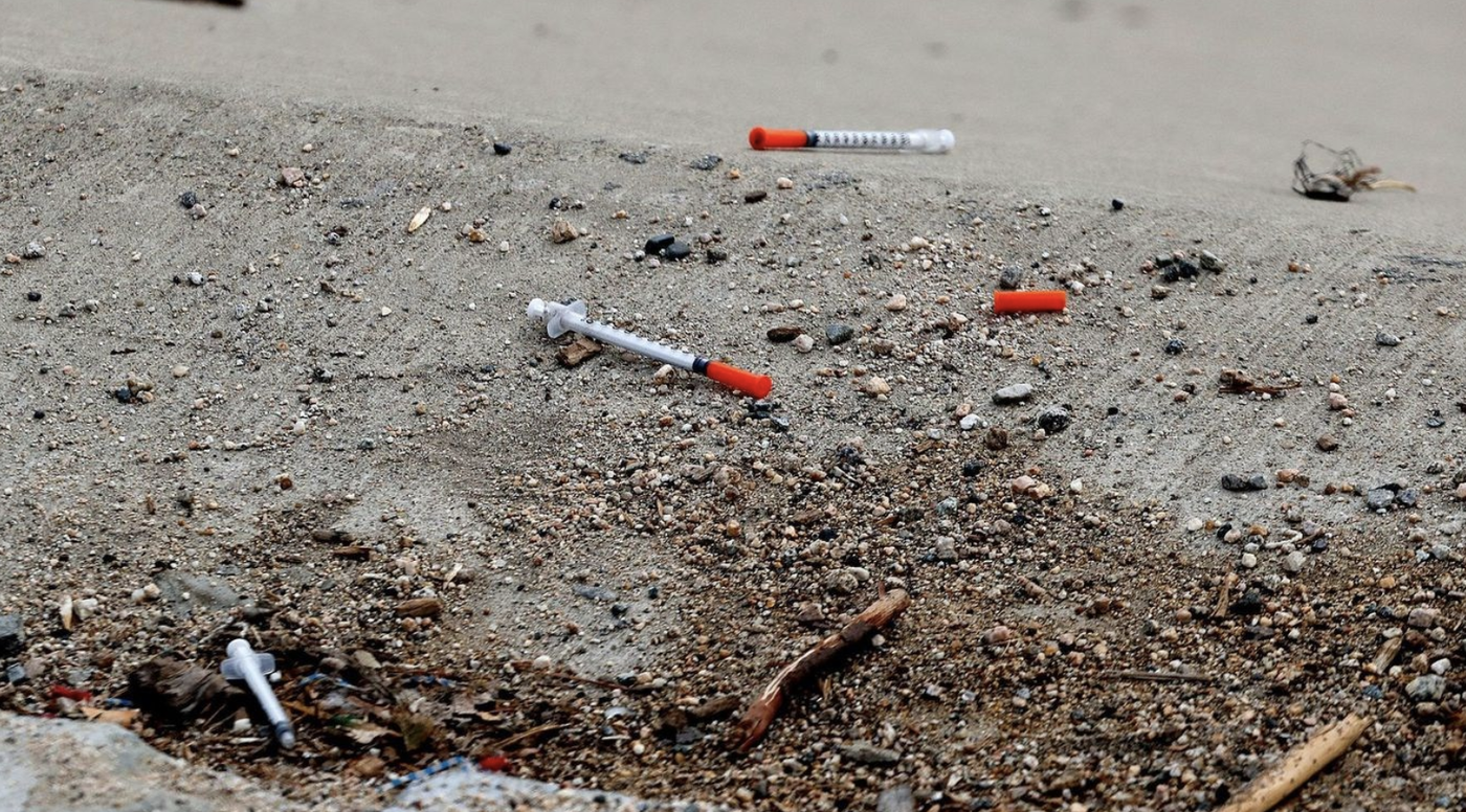 Discarded needles are seen in downtown Santa Ana in this undated photo. (Credit: Allen J. Schaben / Los Angeles Times)