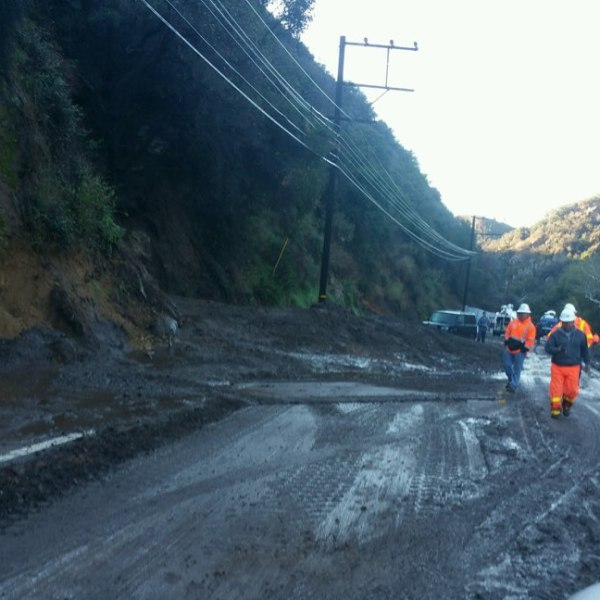 Caltrans released this image of a mudslide on Topanga Canyon Boulevard on March 15, 2018.