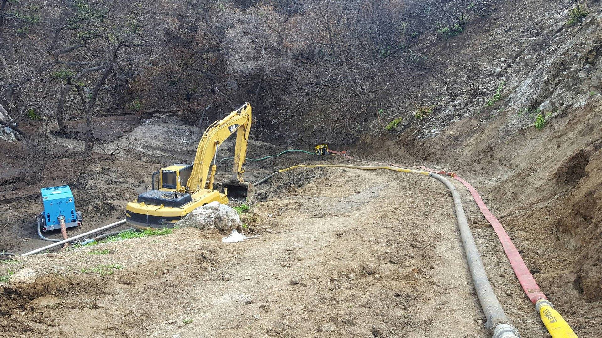 Machinery is seen being used to clear La Tuna Canyon Road after a landslide hit in this image posted to Facebook by the City of Los Angeles Bureau of Engineering on March 25, 2018.