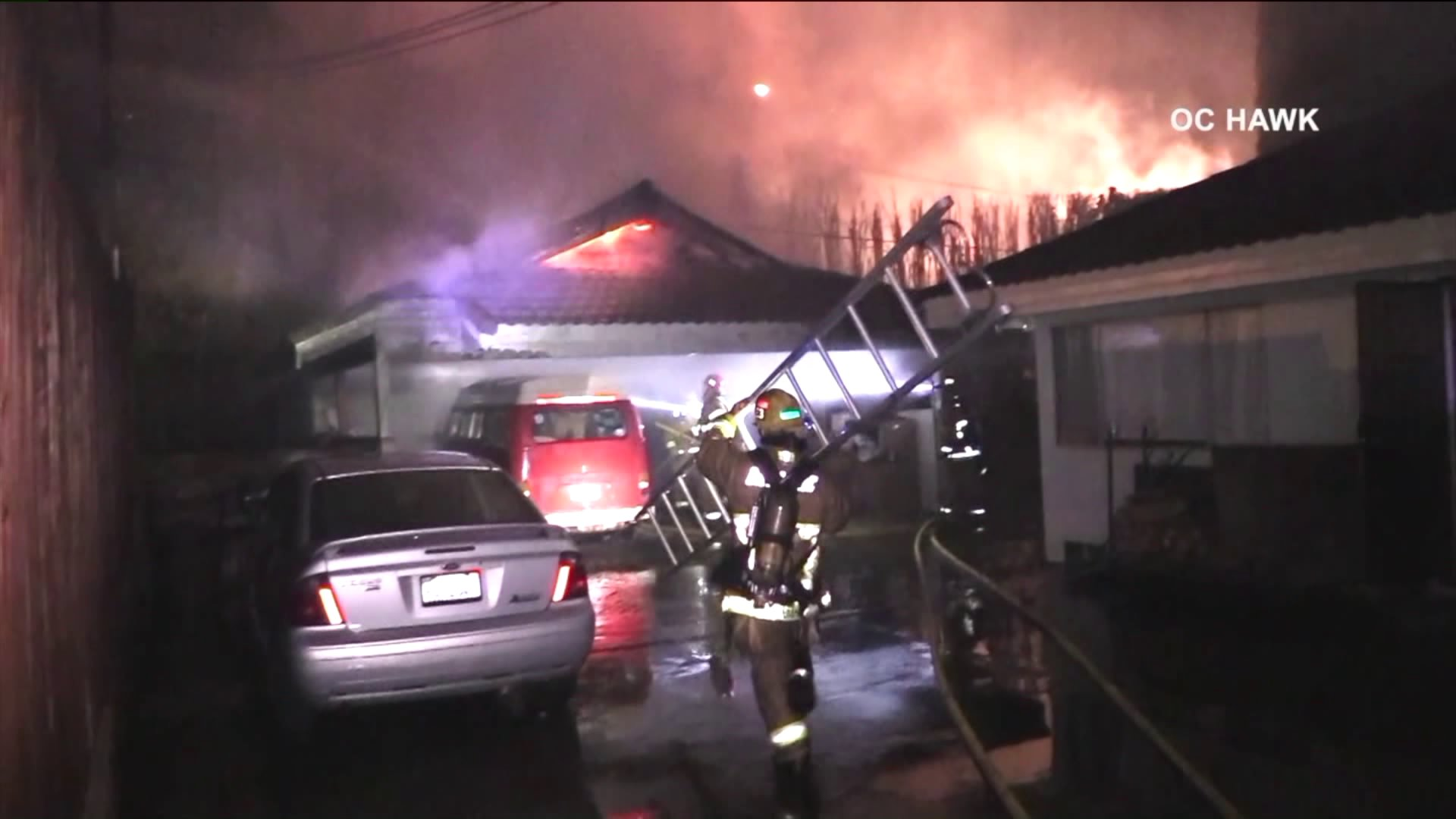 Cypress tree fire burns one home, then another hours later in Brea on March 6, 2018.