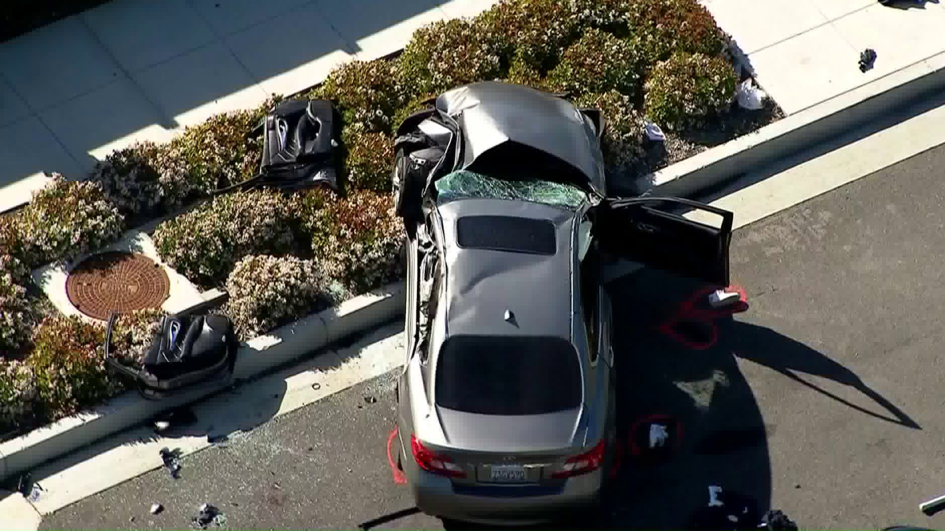 A car involved in a fatal crash in Tustin is shown on March 23, 2018. (Credit: KTLA)