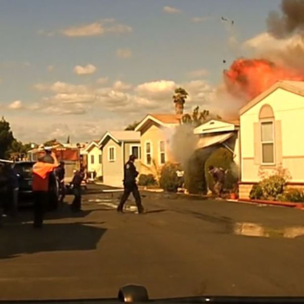 A mobile home in Cypress is seen exploding in a still from dashcam video released by the Cypress Police Department on March 15, 2018.