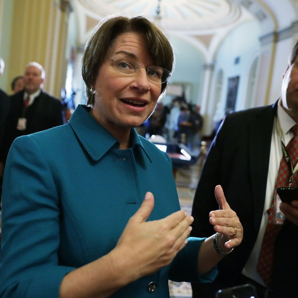 U.S. Sen. Amy Klobuchar, D-MN, speaks to members of the media after an election meeting of Senate Democrats to elect new leadership at the Capitol November 16, 2016 in Washington, D.C. (Credit: Alex Wong/Getty Images)