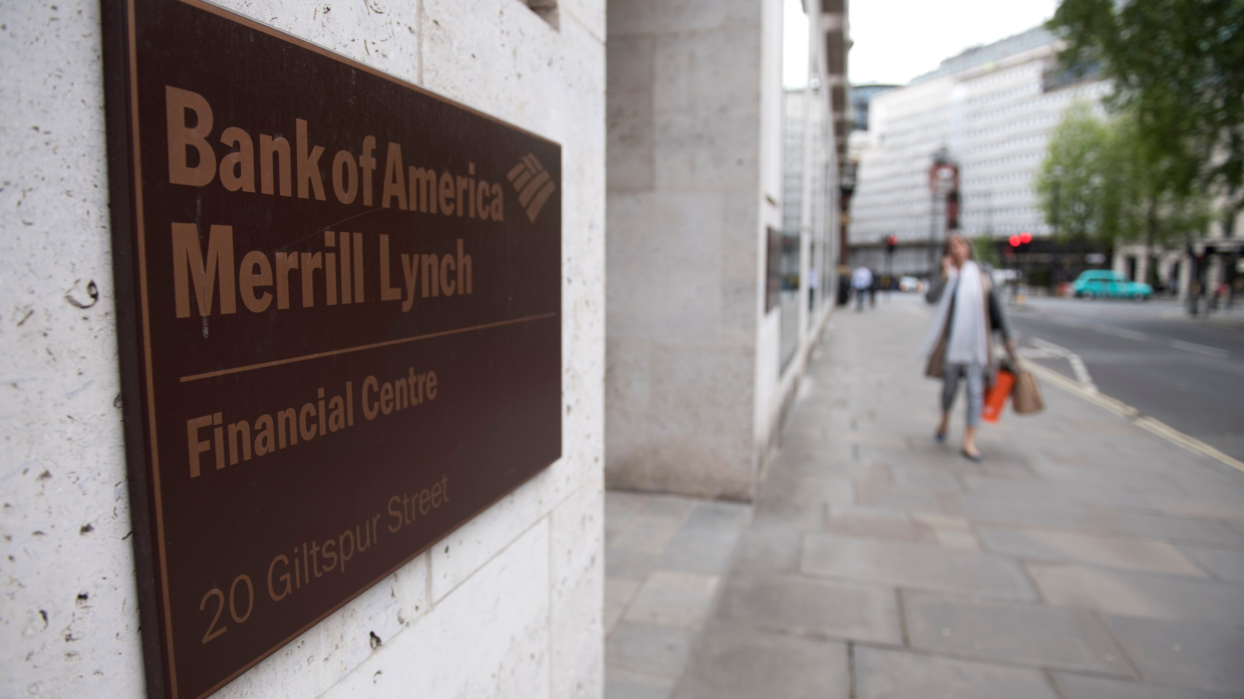 A view of offices of US investment bank Bank of America Merrill Lynch in London on May 5, 2017. (Credit: Justin Tallis/AFP/Getty Images)