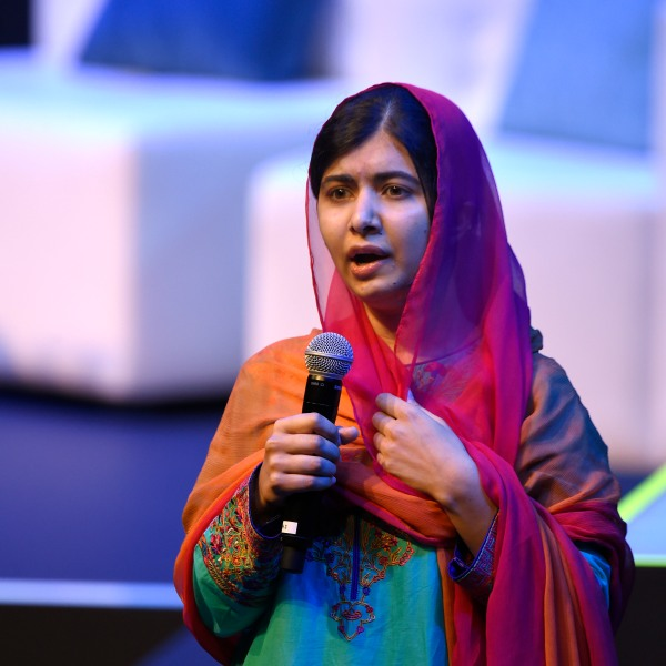 Pakistani Nobel Peace Prize 2014 laureate Malala Yousafzai speaks during a meeting with students of the Telmex-Telcel Foundation at the National Auditorium in Mexico City on Sept. 01, 2017. (Credit: Alfredo Estrella / AFP / Getty Images)