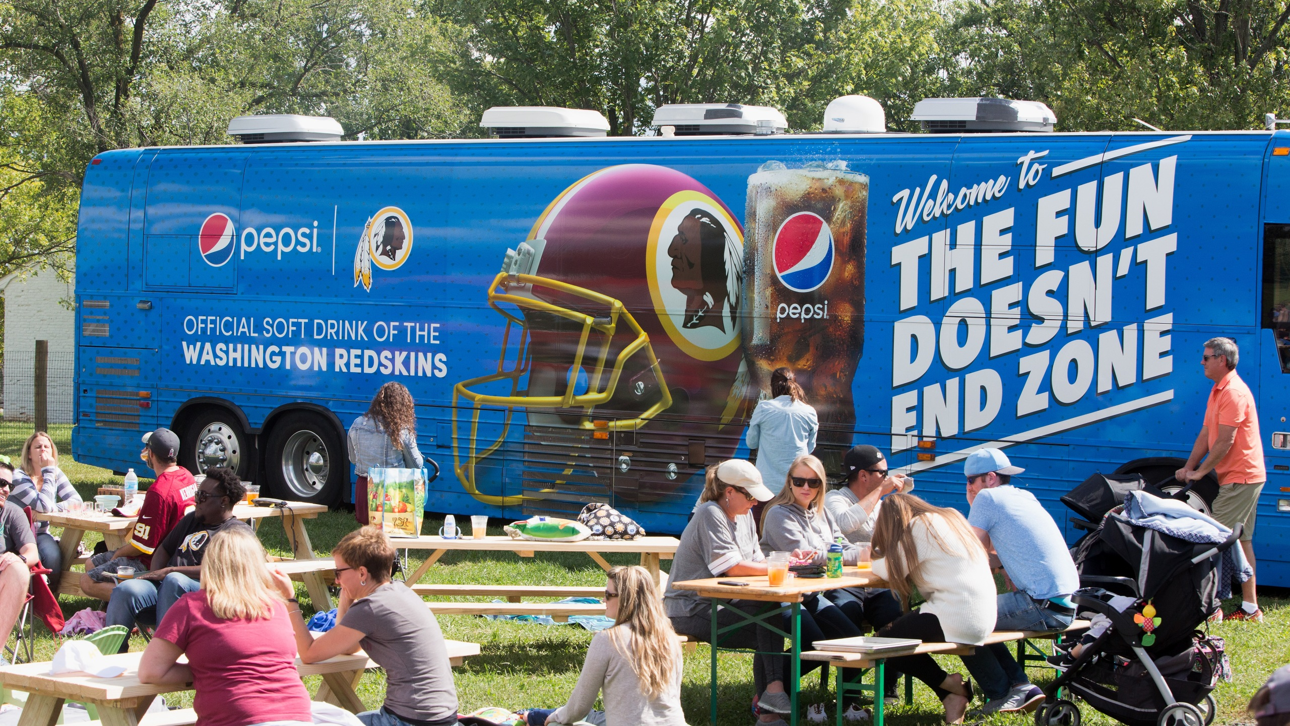 Guests attend Pepsi and Washington Redskins pep rally at Vanish Brewery on Sept. 9, 2017 in Leesburg, Virginia. (Credit: Tasos Katopodis/Getty Images for Pepsi)