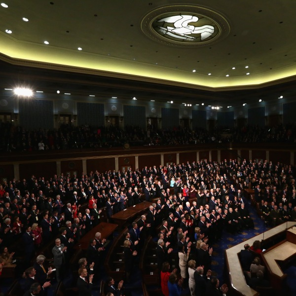 U.S. President Donald J. Trump delivers the State of the Union address in the chamber of the U.S. House of Representatives Jan. 30, 2018, in Washington, D.C. (Credit: Alex Wong/Getty Images)