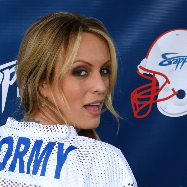 Adult film actress and director Stormy Daniels hosts a Super Bowl party at Sapphire Las Vegas Gentlemen's Club on Feb. 4, 2018, in Las Vegas. (Credit: Ethan Miller/Getty Images)