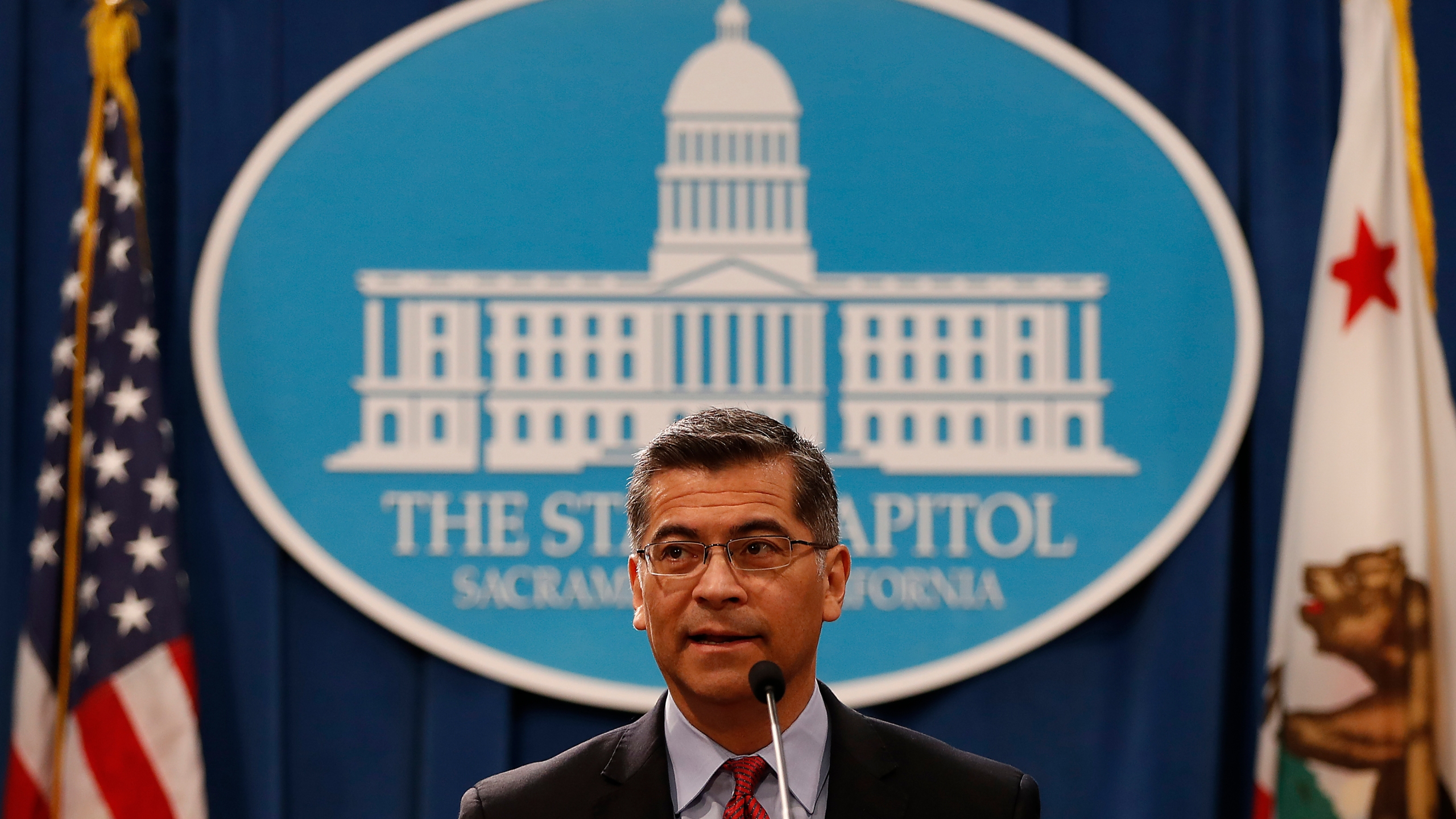 California Attorney General Xavier Becerra speaks during a press conference at the California State Capitol on March 7, 2018. (Credit: Stephen Lam/Getty Images)