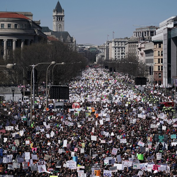 Protesters participate in the March for Our Lives rally in Washington, D.C. on March 24, 2018. (Credit: Alex Wong/Getty Images)