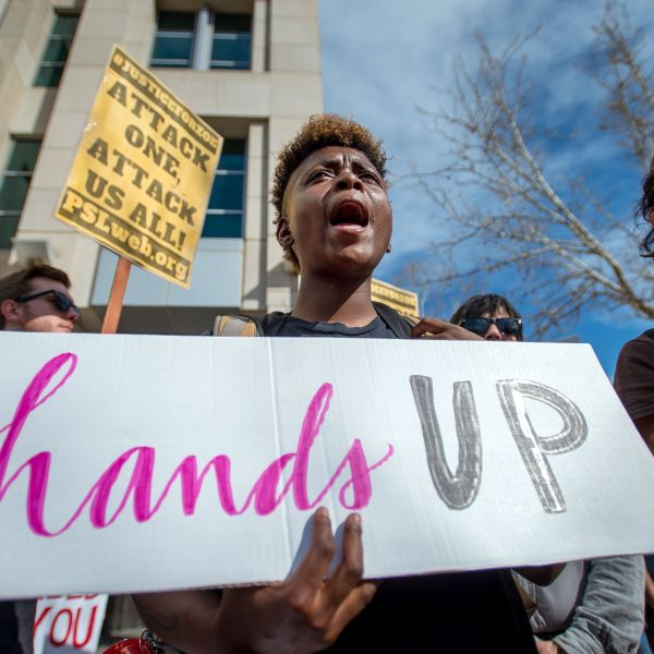Black Lives Matter protesters march for Stephon Clark on the day of his funeral in downtown Sacramento on March 29, 2018. (Credit: JOSH EDELSON/AFP/Getty Images)