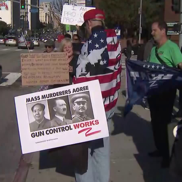 Gun rights advocates rallied in Westwood in a protest that appeared considerably smaller than the massive crowds seen around the nation as March for Our Lives protests unfolded that same day on March 24, 2018. (Credit: KTLA)