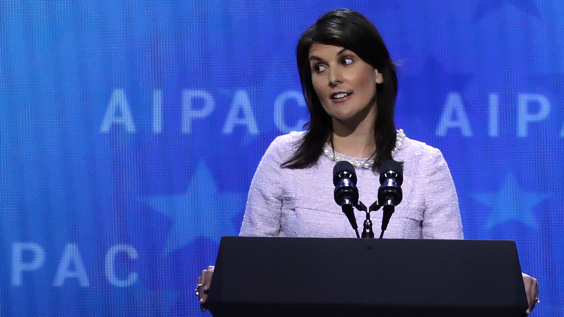 Former U.S. Ambassador to the United Nations Nikki Haley address the American Israel Public Affairs Committee's annual policy conference at the Washington Convention Center March 5, 2018, in Washington, D.C. (Credit: Chip Somodevilla/Getty Images)