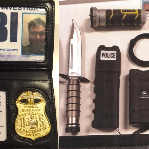 The L.A. County Sheriff's Department released these images of a fake FBI badge and weapons allegedly possessed by Greg Baghoomian while attempting to enter jail on March 6, 2018.