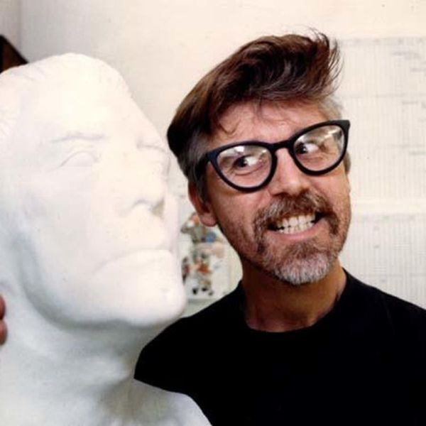 John Kricfalusi in 1992 with a bust of his idol, Kirk Douglas. (Credit: Larry Bessel / Los Angeles Times)