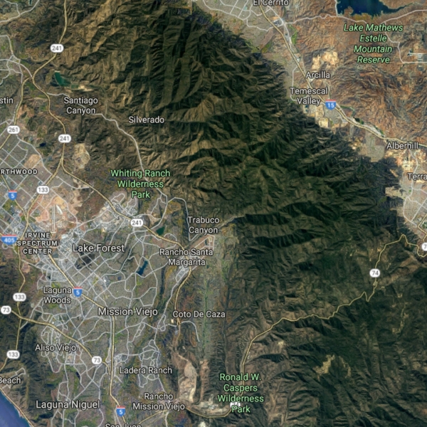 This Google Maps image shows part of Orange County, where Lake Elsinore is located east. In that area, near the Blue Jay Campground, a woman died after falling from a 200-foot waterfall on March 18, 2018.