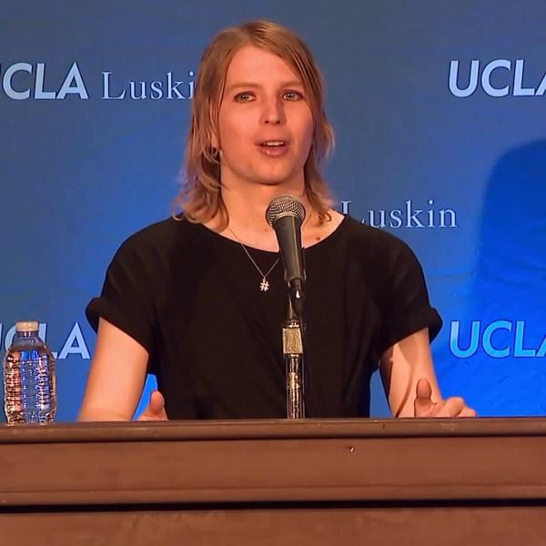 Chelsea Manning speaks during an event at UCLA on March 5, 2018. (Credit: KTLA)