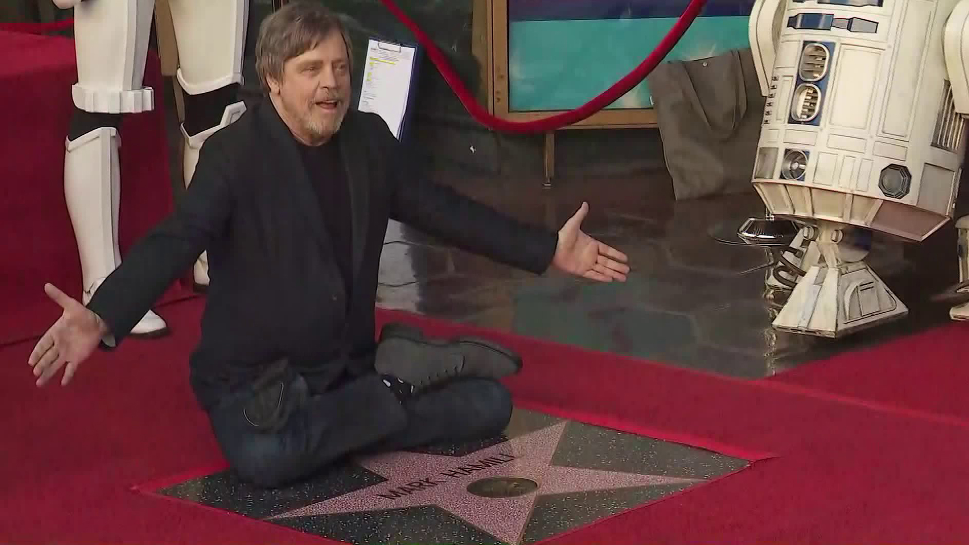Mark Hamill received his star on the Hollywood Walk of Fame on March 8, 2018. (Credit: KTLA)
