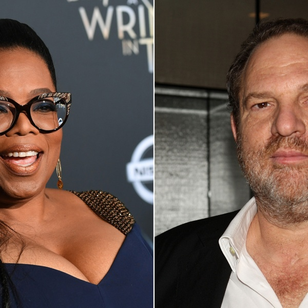 """Oprah Winfrey attends the premiere of """"A Wrinkle In Time"""" at the El Capitan Theatre on Feb. 26, 2018; Harvey Weinstein arrives at a party during the Toronto International Film Festival on Sept. 11, 2007. (Credit: Getty Images)"""