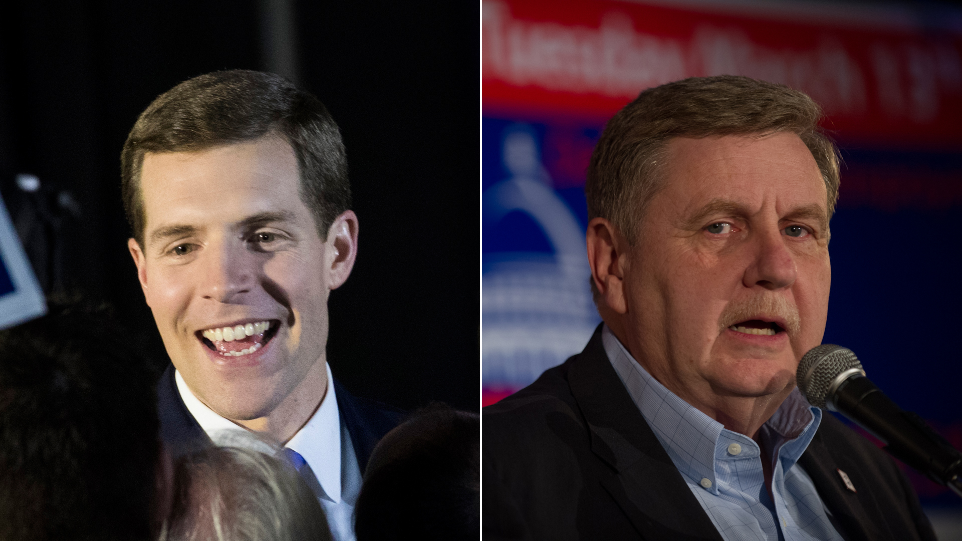 Conor Lamb, Democratic congressional candidate for Pennsylvania's 18th district, greets supporters at an election night rally March 13, 2018, in Canonsburg. Meanwhile, GOP candidate Rick Saccone speaks to supporters in Elizabeth Township. (Credit: Getty Images; left, Drew Angerer / right, Jeff Swensen)