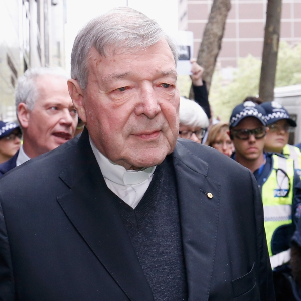 Cardinal George Pell leaves the Melbourne Magistrates' Court with a heavy Police escort on Oct. 6, 2017, in Melbourne, Australia.(Credit: Darrian Traynor/Getty Images)