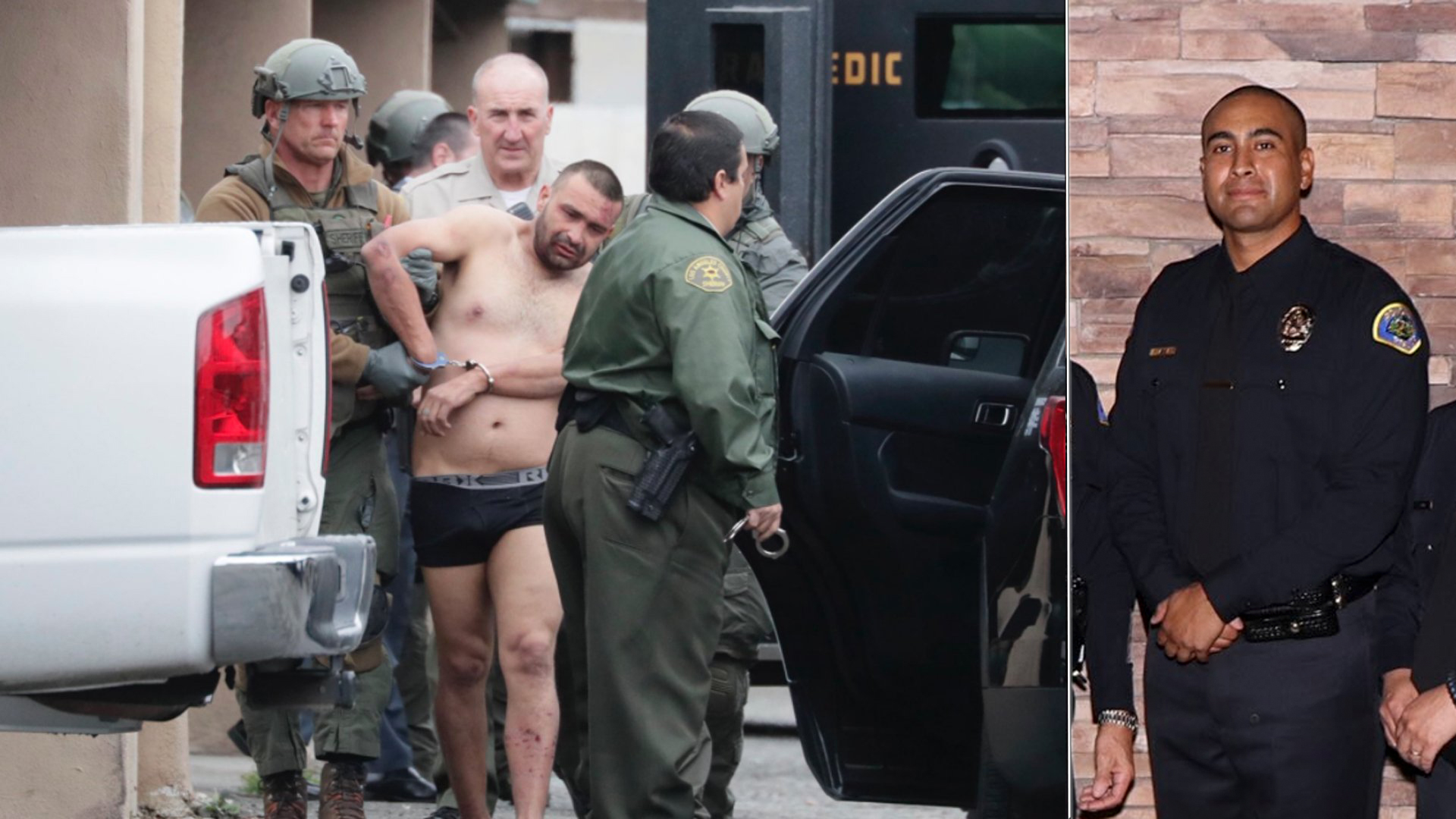Isaias De Jesus Valencia, suspected of killing a Pomona police officer, is taken into custody following a lengthy standoff with police on March 10, 2018; and Officer Gregg Casillas is seen in an undated photo. (Credit: Irfan Kahn/Los Angeles Times, left; Pomona Police Department, right)
