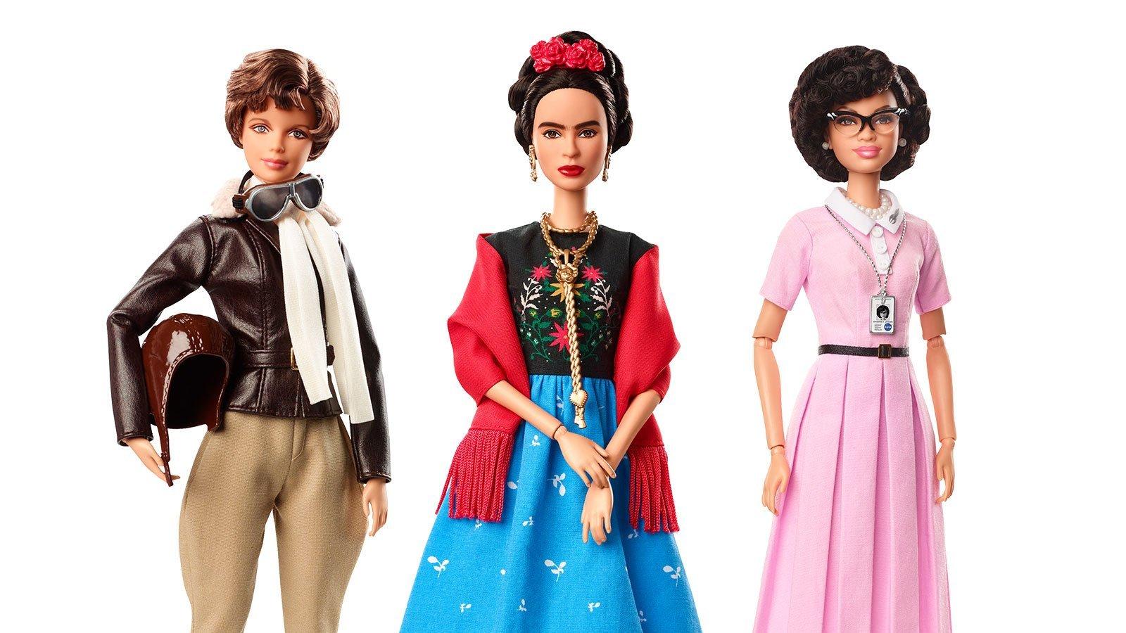 Among the new Barbie dolls are likenesses of Amelia Earhart, Frida Kahlo and Katherine Johnson. (Credit: Mattel)