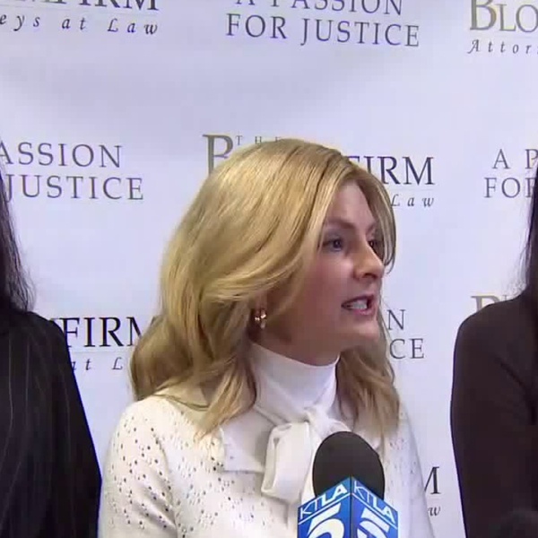 From left to right, Fabiola Dadis, Lisa Bloom and Regina Simons appear at a news conference in Woodland Hills on March 19, 2018. Dadis and Simons have accused actor Steven Seagal of sexual assault, with Bloom representing them as their attorney. (Credit: KTLA)