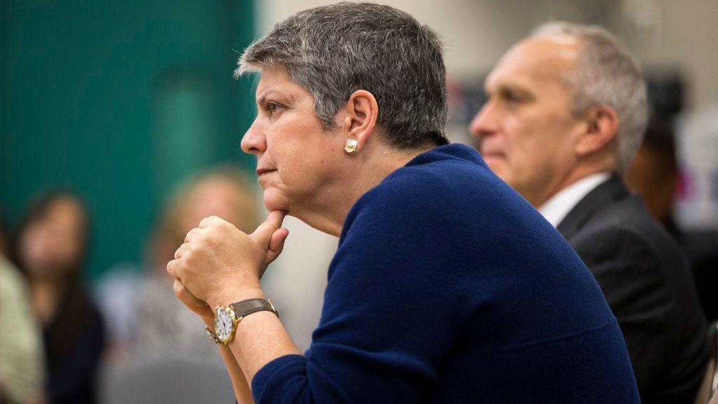 UC President Janet Napolitano listens to students during a 2016 question and answer session at Eleanor Roosevelt High School in Corona. (Credit: Gina Ferazzi / Los Angeles Times)