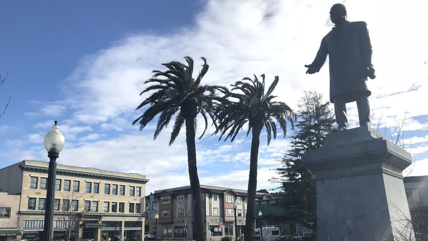 A statue of President William McKinley that has stood in the central plaza in Arcata since 1906 is scheduled to come down. (Credit: Jaweed Kaleem / Los Angeles Times)
